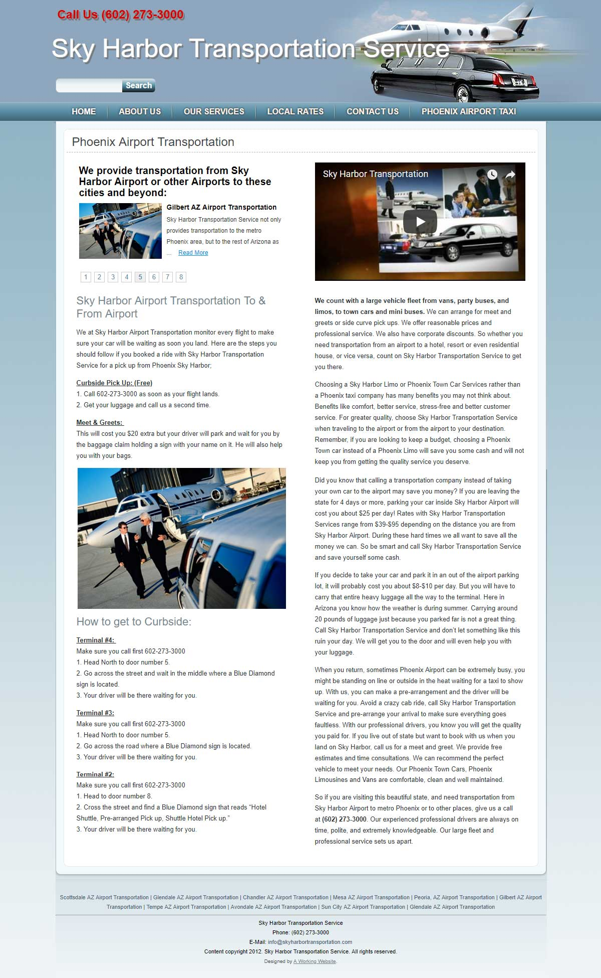 Web Design and Development for Sky Harbor Transportation Service